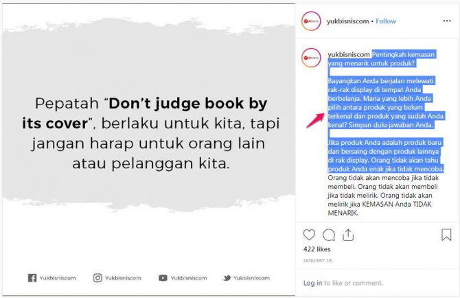bagaimana cara copy paste caption di instagram