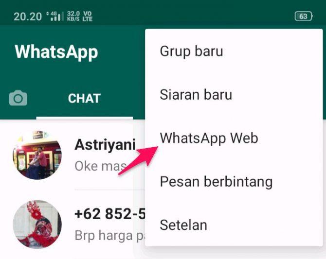 cara melihat barcode whatsapp di android